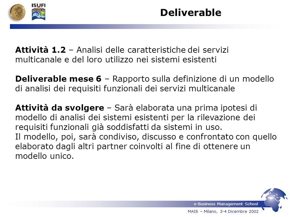 e-Business Management School MAIS – Milano, 3-4 Dicembre 2002 Deliverable Attività 1.2 – Analisi delle caratteristiche dei servizi multicanale e del l