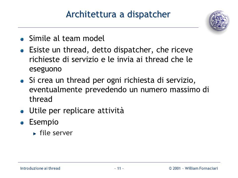 Introduzione ai thread© 2001 - William Fornaciari- 11 - Architettura a dispatcher Simile al team model Esiste un thread, detto dispatcher, che riceve