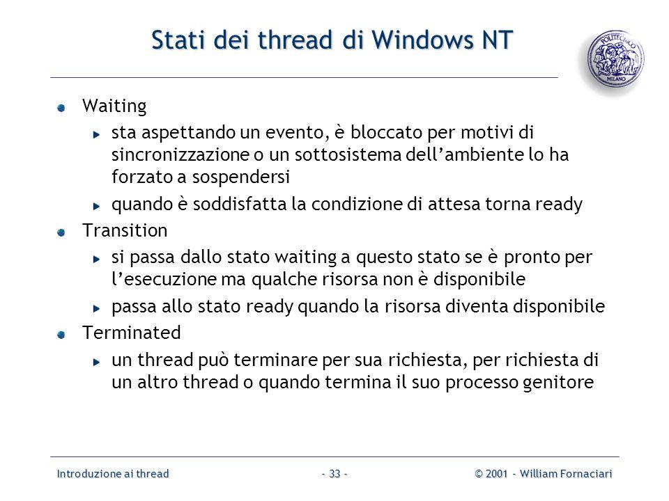 Introduzione ai thread© 2001 - William Fornaciari- 33 - Stati dei thread di Windows NT Waiting sta aspettando un evento, è bloccato per motivi di sinc