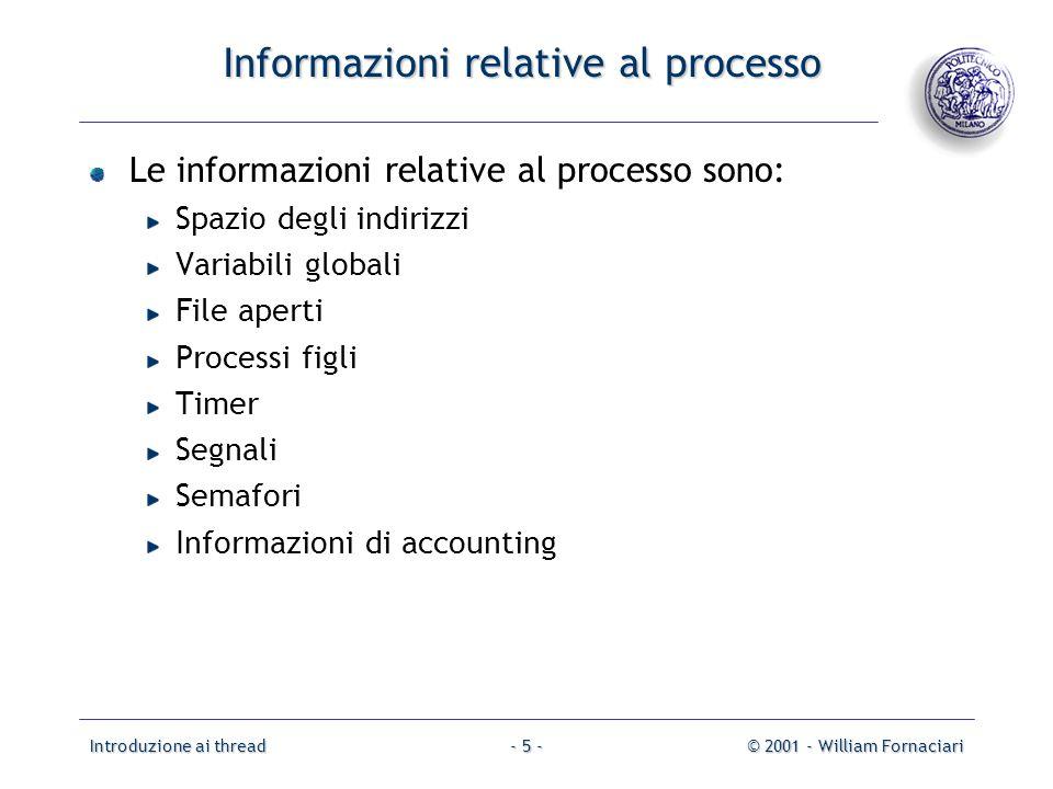 Introduzione ai thread© 2001 - William Fornaciari- 5 - Informazioni relative al processo Le informazioni relative al processo sono: Spazio degli indir