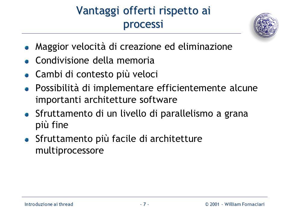 Introduzione ai thread© 2001 - William Fornaciari- 7 - Vantaggi offerti rispetto ai processi Maggior velocità di creazione ed eliminazione Condivision