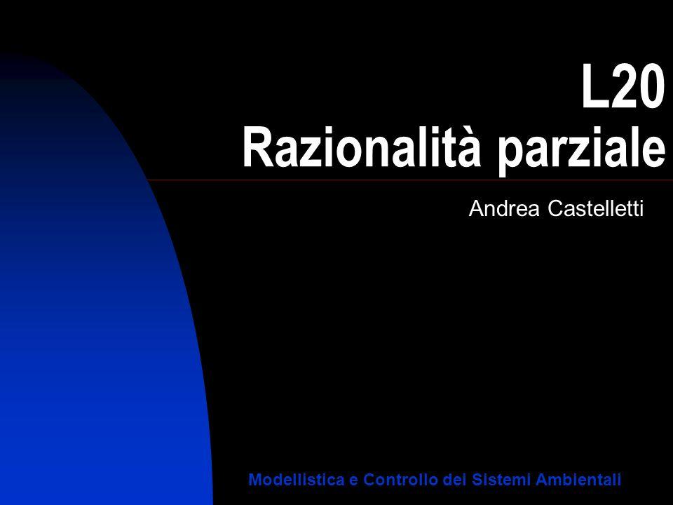 L20 Razionalità parziale Andrea Castelletti Modellistica e Controllo dei Sistemi Ambientali
