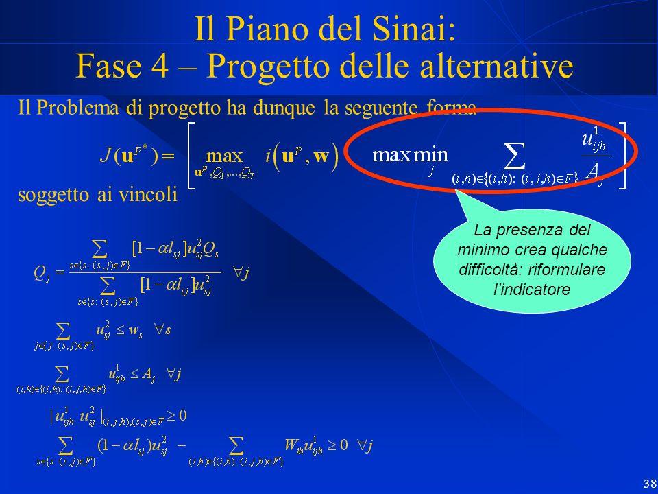 38 Il Piano del Sinai: Fase 4 – Progetto delle alternative Il Problema di progetto ha dunque la seguente forma soggetto ai vincoli La presenza del min