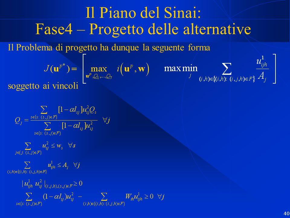 40 Il Piano del Sinai: Fase4 – Progetto delle alternative Il Problema di progetto ha dunque la seguente forma soggetto ai vincoli