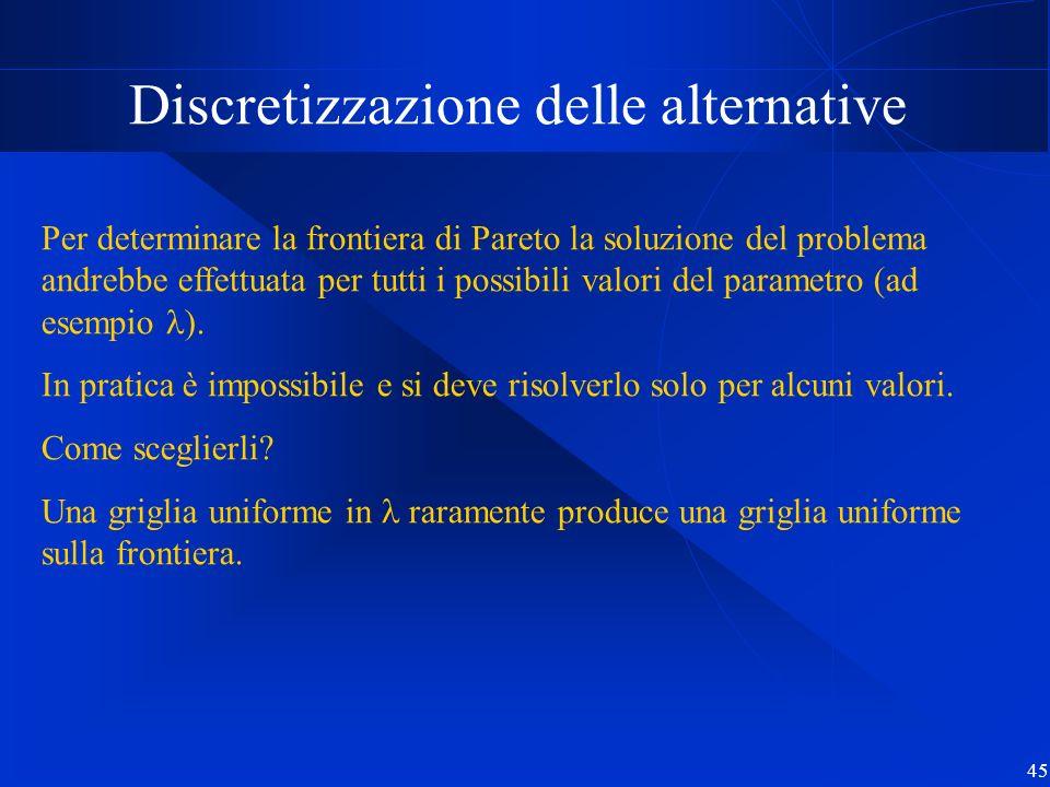 45 Discretizzazione delle alternative Per determinare la frontiera di Pareto la soluzione del problema andrebbe effettuata per tutti i possibili valor