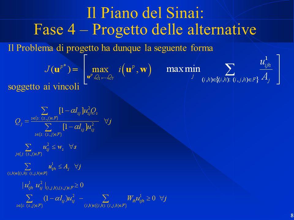 8 Il Piano del Sinai: Fase 4 – Progetto delle alternative Il Problema di progetto ha dunque la seguente forma soggetto ai vincoli
