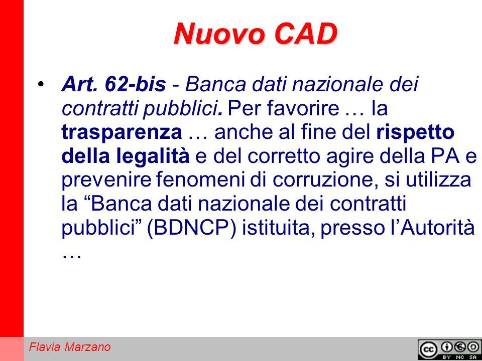 Flavia Marzano Nuovo CAD Art.62-bis - Banca dati nazionale dei contratti pubblici.