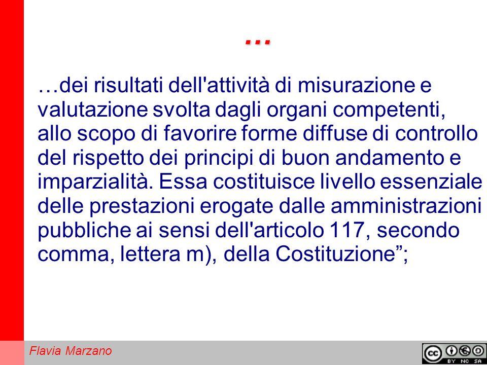 Flavia Marzano … …dei risultati dell attività di misurazione e valutazione svolta dagli organi competenti, allo scopo di favorire forme diffuse di controllo del rispetto dei principi di buon andamento e imparzialità.