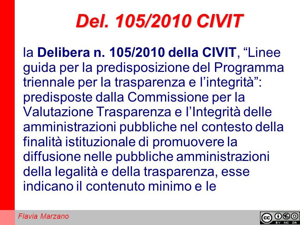 Flavia Marzano Del.105/2010 CIVIT la Delibera n.