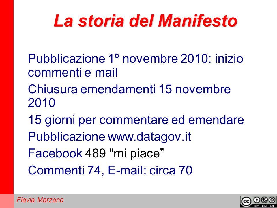 Flavia Marzano La storia del Manifesto Pubblicazione 1º novembre 2010: inizio commenti e mail Chiusura emendamenti 15 novembre 2010 15 giorni per commentare ed emendare Pubblicazione www.datagov.it Facebook 489 mi piace Commenti 74, E-mail: circa 70