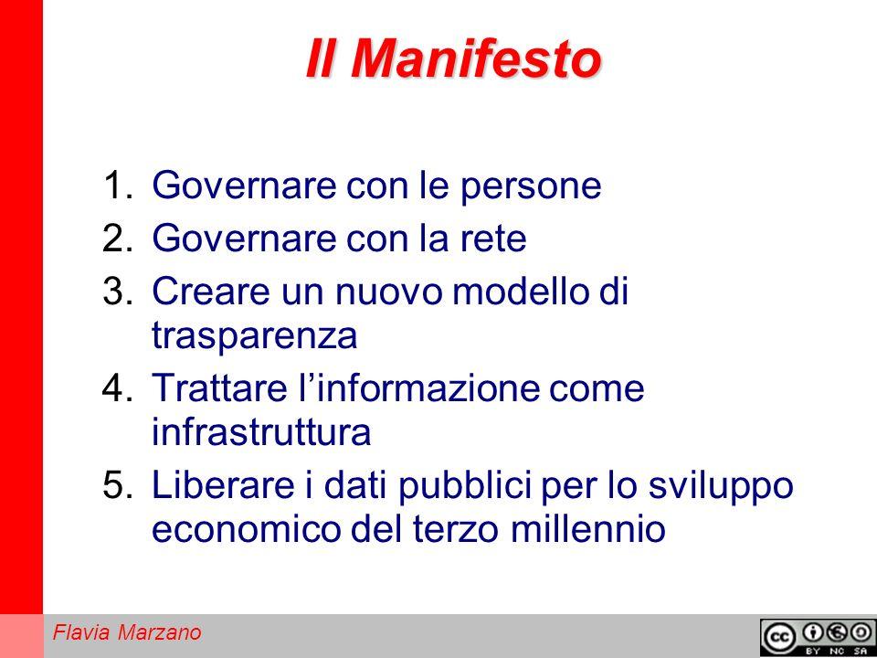 Flavia Marzano Il Manifesto 1.Governare con le persone 2.Governare con la rete 3.Creare un nuovo modello di trasparenza 4.Trattare linformazione come infrastruttura 5.Liberare i dati pubblici per lo sviluppo economico del terzo millennio