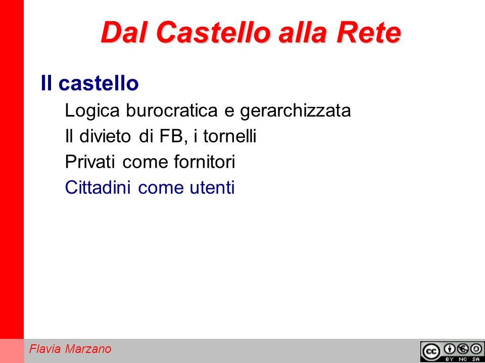 Flavia Marzano Dal Castello alla Rete Il castello Logica burocratica e gerarchizzata Il divieto di FB, i tornelli Privati come fornitori Cittadini come utenti