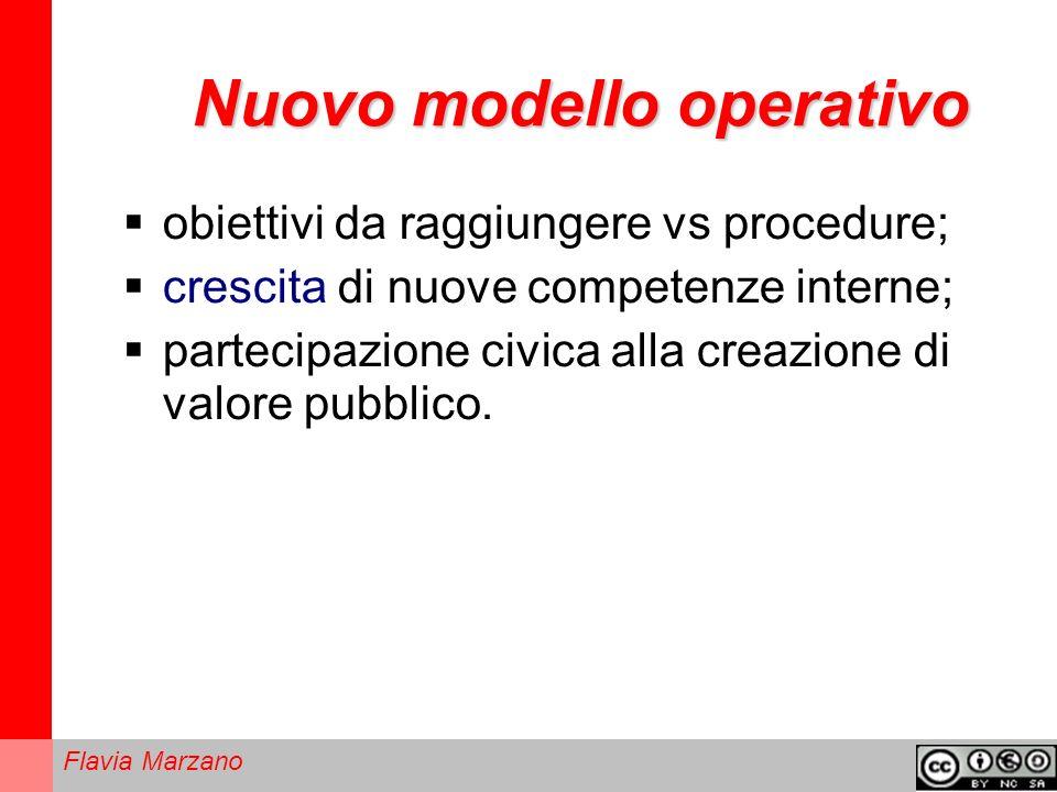 Flavia Marzano Nuovo modello operativo obiettivi da raggiungere vs procedure; crescita di nuove competenze interne; partecipazione civica alla creazione di valore pubblico.