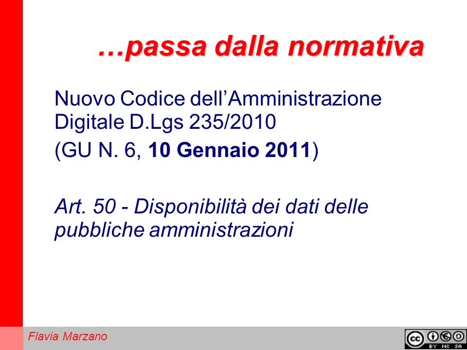 Flavia Marzano …passa dalla normativa Nuovo Codice dellAmministrazione Digitale D.Lgs 235/2010 (GU N.