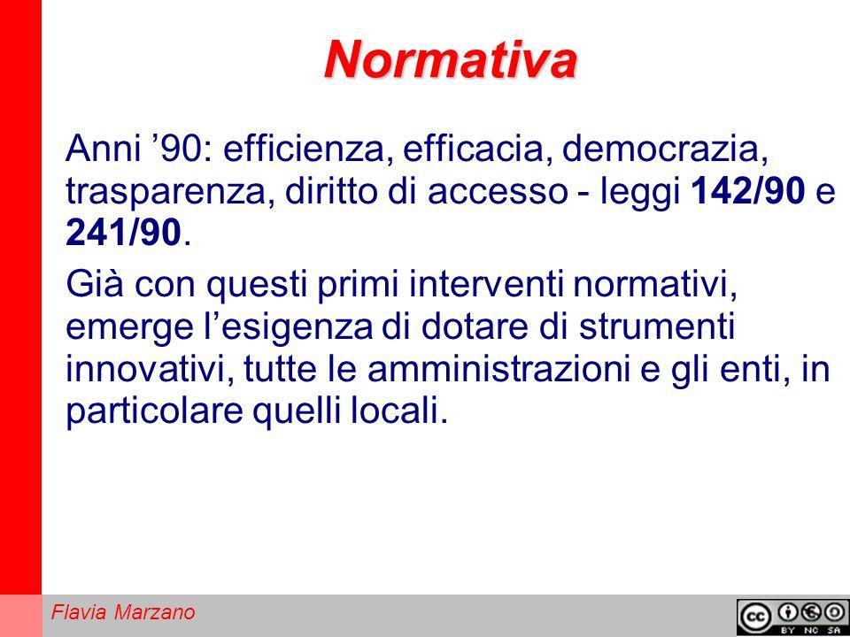 Flavia Marzano Normativa Anni 90: efficienza, efficacia, democrazia, trasparenza, diritto di accesso - leggi 142/90 e 241/90.