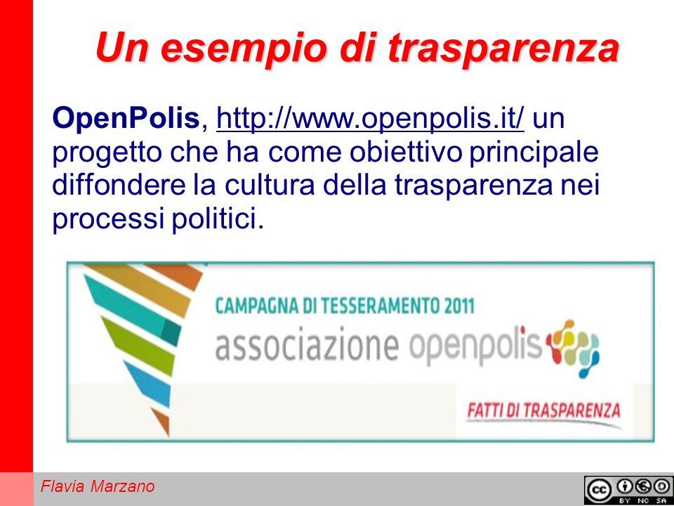 Un esempio di trasparenza OpenPolis, http://www.openpolis.it/ un progetto che ha come obiettivo principale diffondere la cultura della trasparenza nei processi politici.