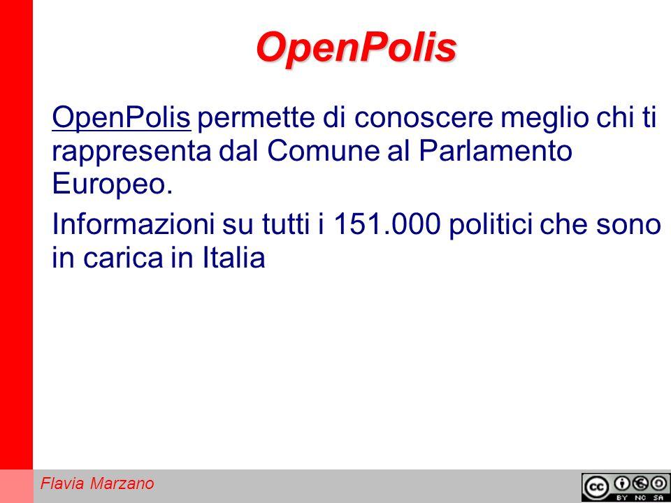 Flavia Marzano OpenPolis OpenPolis permette di conoscere meglio chi ti rappresenta dal Comune al Parlamento Europeo.