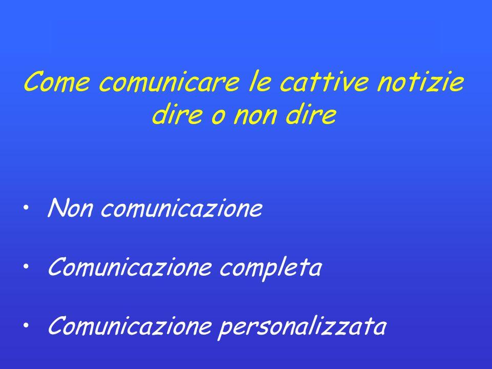 Come comunicare le cattive notizie dire o non dire Non comunicazione Comunicazione completa Comunicazione personalizzata