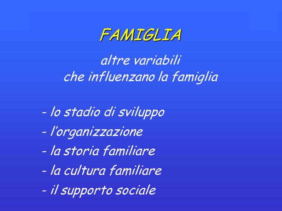 FAMIGLIA altre variabili che influenzano la famiglia - lo stadio di sviluppo - lorganizzazione - la storia familiare - la cultura familiare - il supporto sociale