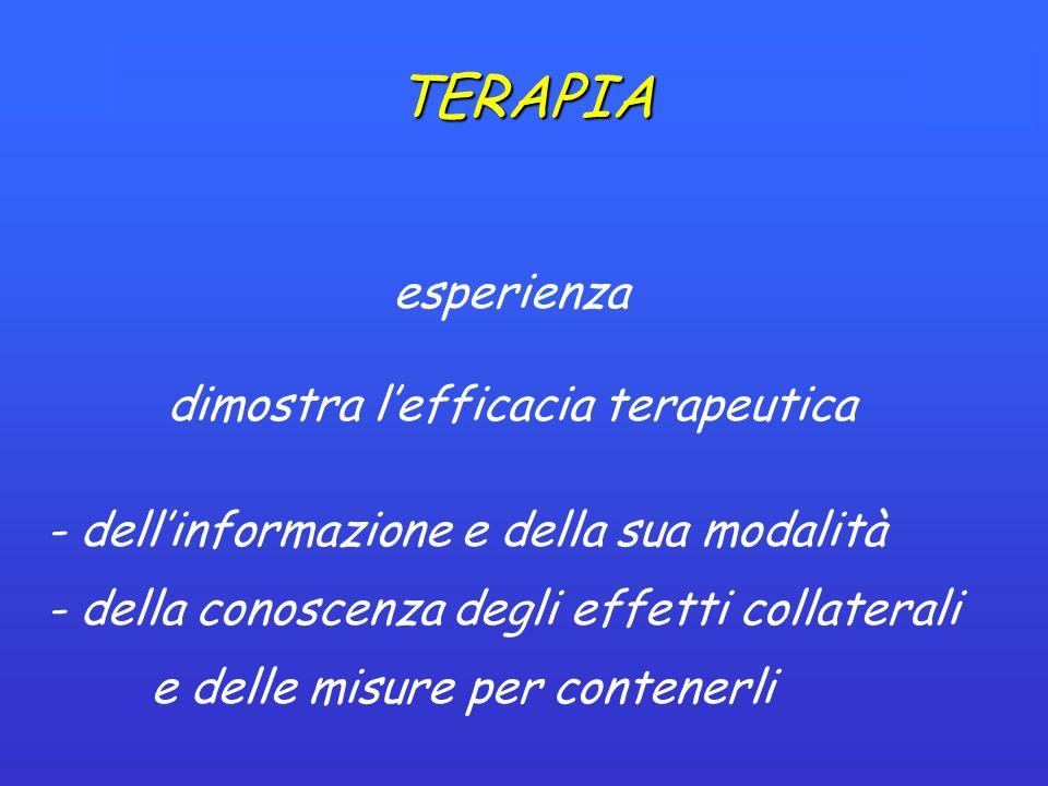 TERAPIA esperienza dimostra lefficacia terapeutica - dellinformazione e della sua modalità - della conoscenza degli effetti collaterali e delle misure