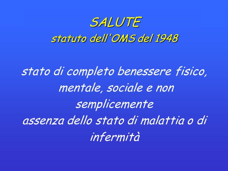 SALUTE statuto dell OMS del 1948 stato di completo benessere fisico, mentale, sociale e non semplicemente assenza dello stato di malattia o di infermità