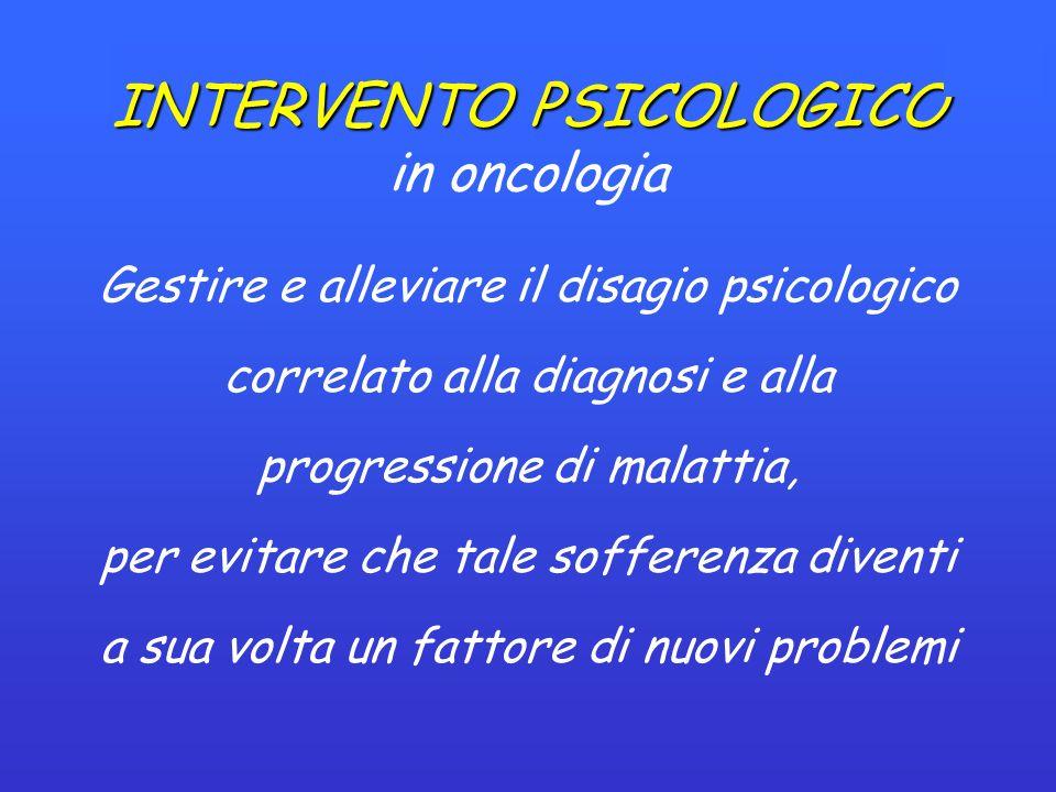 INTERVENTO PSICOLOGICO INTERVENTO PSICOLOGICO in oncologia Gestire e alleviare il disagio psicologico correlato alla diagnosi e alla progressione di malattia, per evitare che tale sofferenza diventi a sua volta un fattore di nuovi problemi