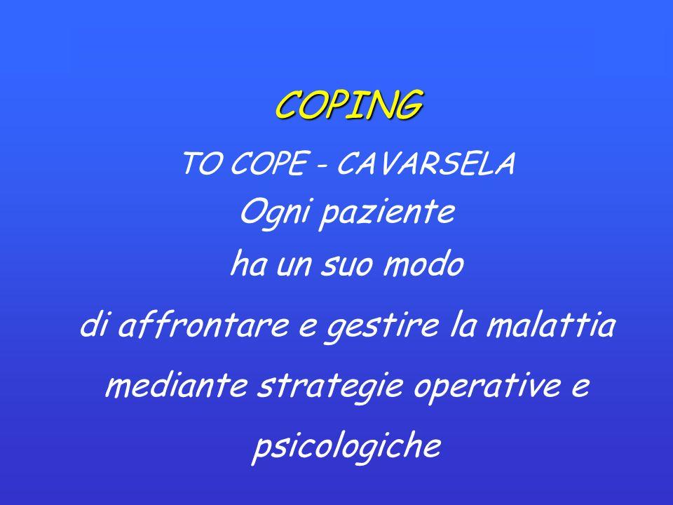 COPING TO COPE - CAVARSELA Ogni paziente ha un suo modo di affrontare e gestire la malattia mediante strategie operative e psicologiche