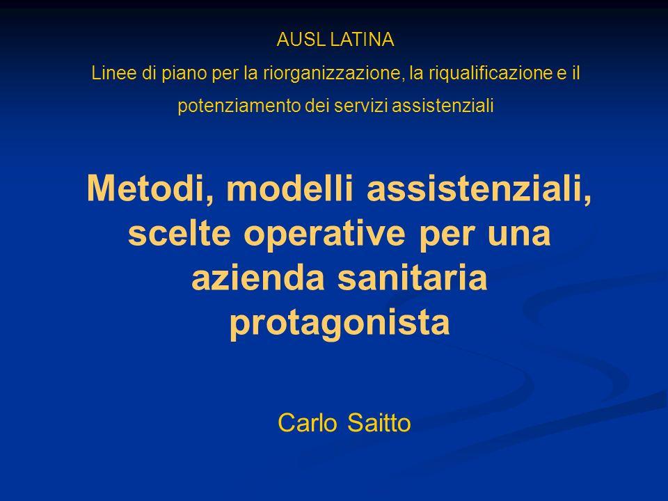 AUSL LATINA Linee di piano per la riorganizzazione, la riqualificazione e il potenziamento dei servizi assistenziali Carlo Saitto Metodi, modelli assi