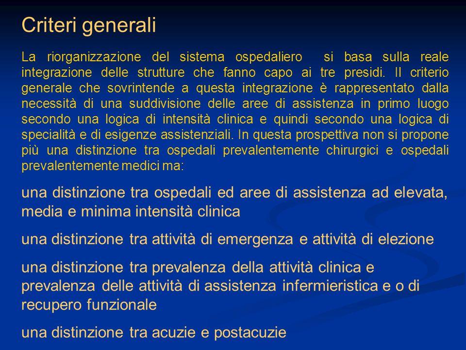 Criteri generali La riorganizzazione del sistema ospedaliero si basa sulla reale integrazione delle strutture che fanno capo ai tre presidi. Il criter