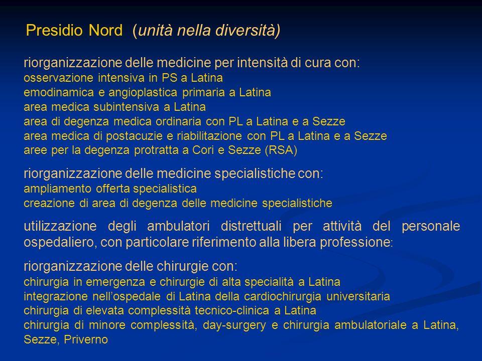 Presidio Nord (unità nella diversità) riorganizzazione delle medicine per intensità di cura con: osservazione intensiva in PS a Latina emodinamica e a