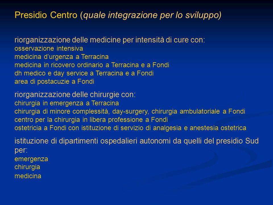 Presidio Centro (quale integrazione per lo sviluppo) riorganizzazione delle medicine per intensità di cure con: osservazione intensiva medicina durgen