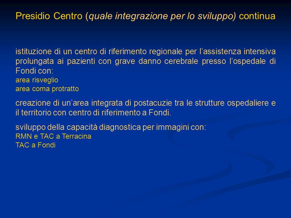 Presidio Centro (quale integrazione per lo sviluppo) continua istituzione di un centro di riferimento regionale per lassistenza intensiva prolungata a