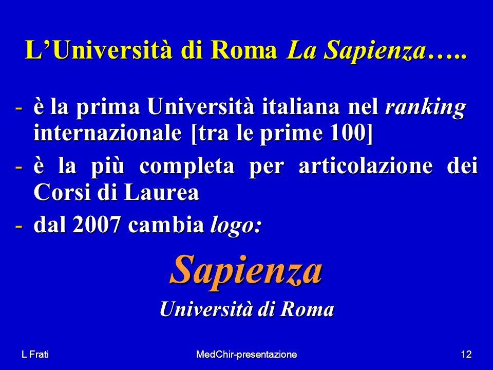 L FratiMedChir-presentazione12 LUniversità di Roma La Sapienza….. -è la prima Università italiana nel ranking internazionale [tra le prime 100] -è la