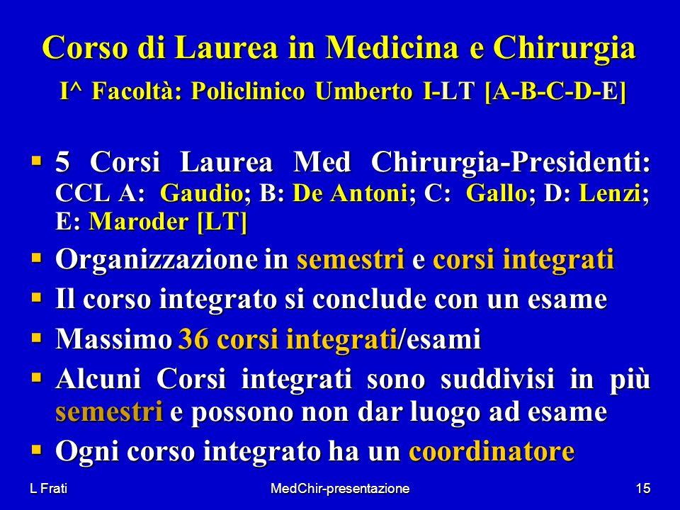 L FratiMedChir-presentazione15 Corso di Laurea in Medicina e Chirurgia I^ Facoltà: Policlinico Umberto I-LT [A-B-C-D-E] 5 Corsi Laurea Med Chirurgia-P