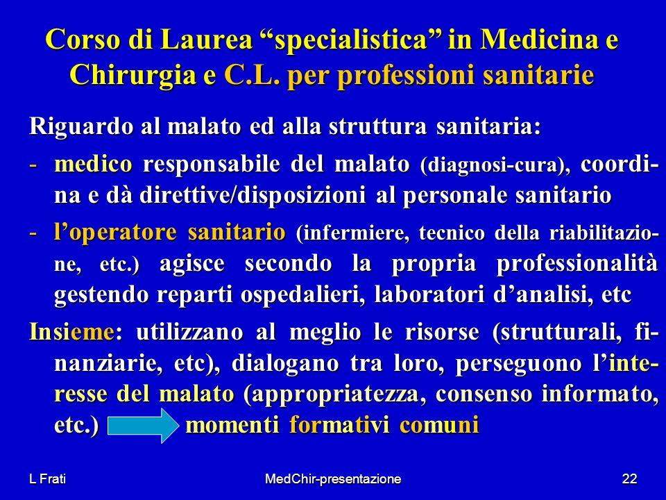 L FratiMedChir-presentazione22 Corso di Laurea specialistica in Medicina e Chirurgia e C.L. per professioni sanitarie Riguardo al malato ed alla strut