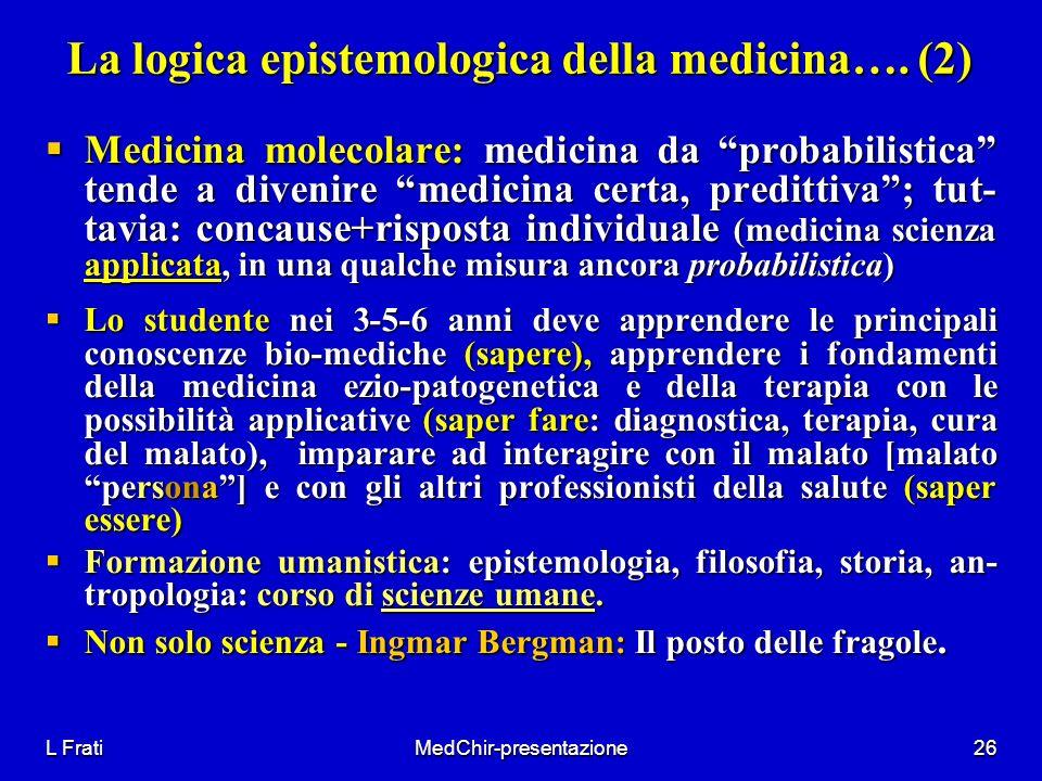 L FratiMedChir-presentazione26 La logica epistemologica della medicina…. (2) Medicina molecolare: medicina da probabilistica tende a divenire medicina