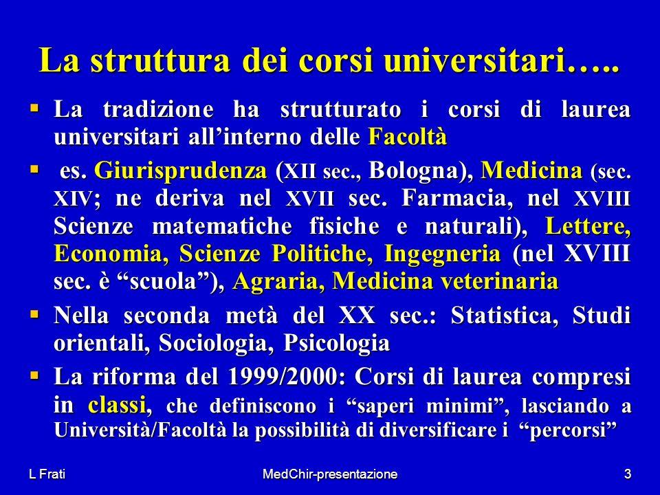 L FratiMedChir-presentazione3 La struttura dei corsi universitari….. La tradizione ha strutturato i corsi di laurea universitari allinterno delle Faco