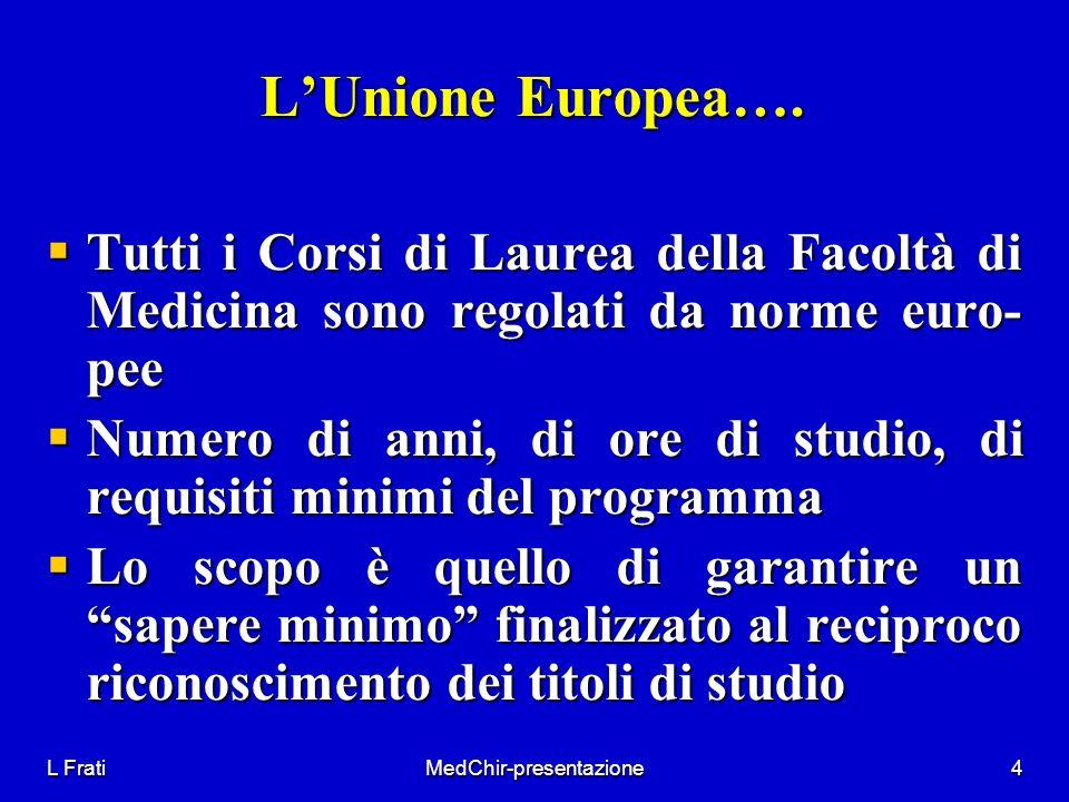 L FratiMedChir-presentazione4 LUnione Europea…. Tutti i Corsi di Laurea della Facoltà di Medicina sono regolati da norme euro- pee Tutti i Corsi di La