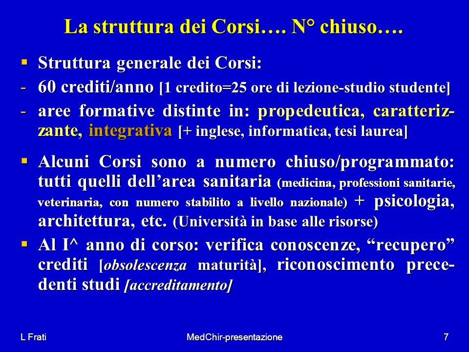 L FratiMedChir-presentazione7 La struttura dei Corsi…. N° chiuso…. Struttura generale dei Corsi: Struttura generale dei Corsi: -60 crediti/anno [1 cre
