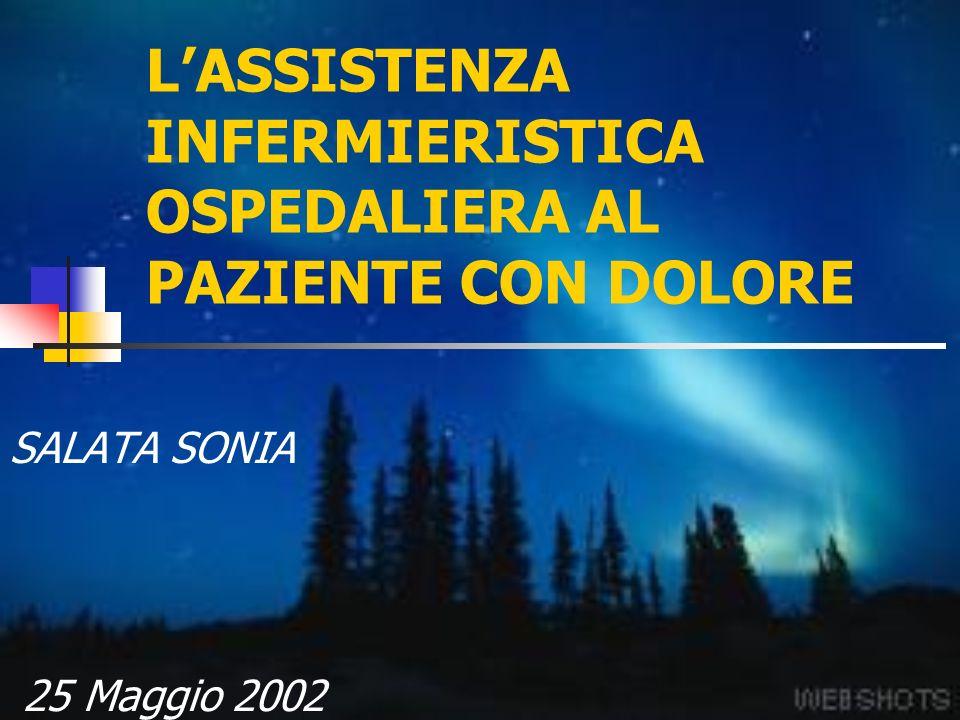 LASSISTENZA INFERMIERISTICA OSPEDALIERA AL PAZIENTE CON DOLORE SALATA SONIA 25 Maggio 2002