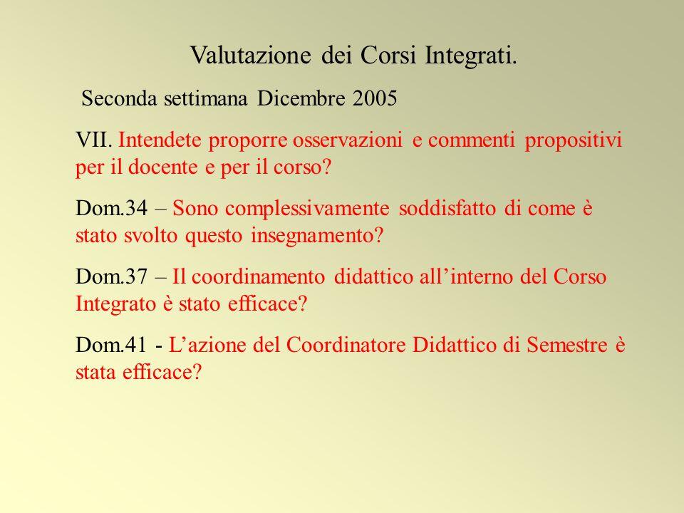 Valutazione dei Corsi Integrati.Seconda settimana Dicembre 2005 VII.