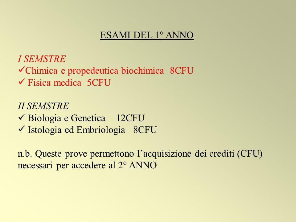 ESAMI DEL 1° ANNO I SEMSTRE Chimica e propedeutica biochimica 8CFU Fisica medica 5CFU II SEMSTRE Biologia e Genetica 12CFU Istologia ed Embriologia 8CFU n.b.