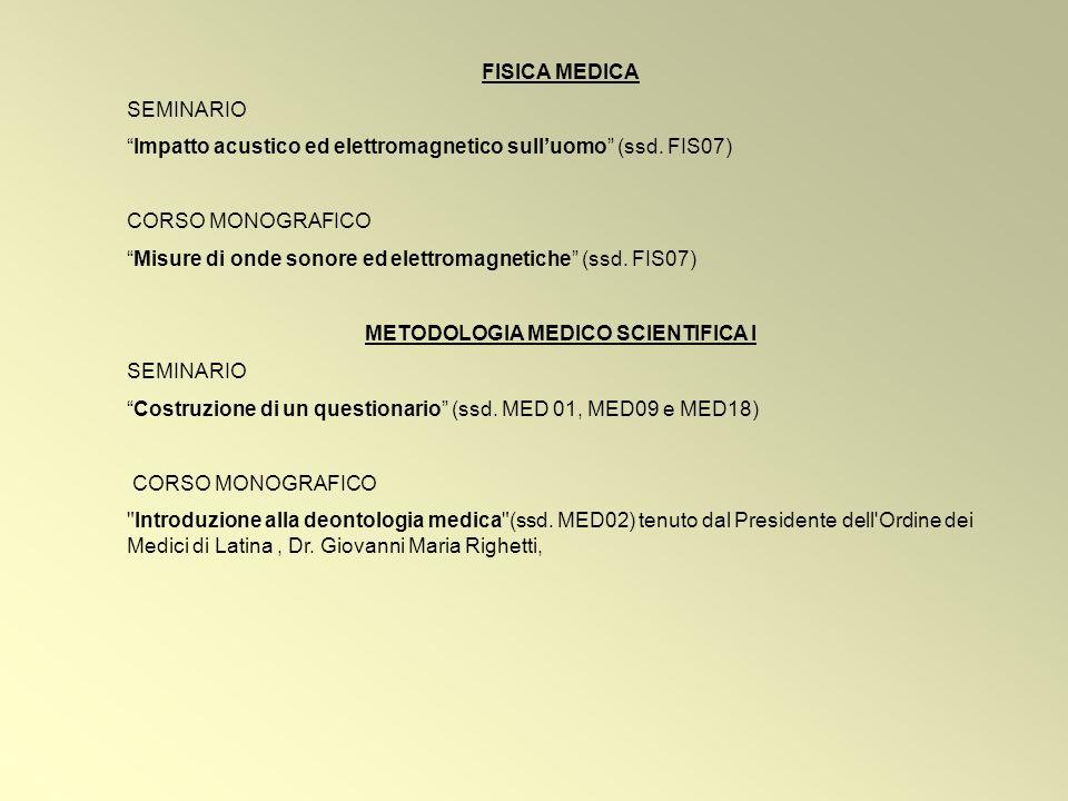 FISICA MEDICA SEMINARIO Impatto acustico ed elettromagnetico sulluomo (ssd.