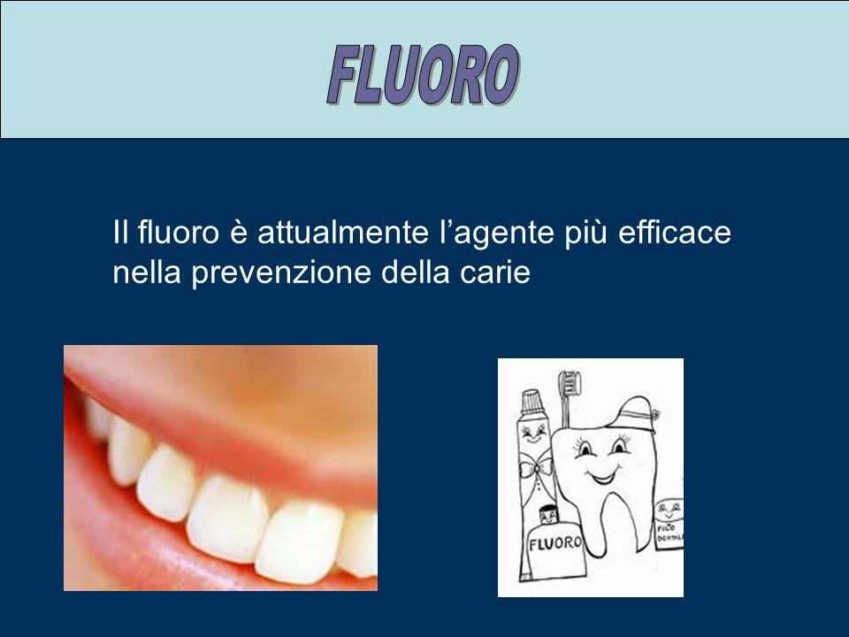 Il fluoro è attualmente lagente più efficace nella prevenzione della carie