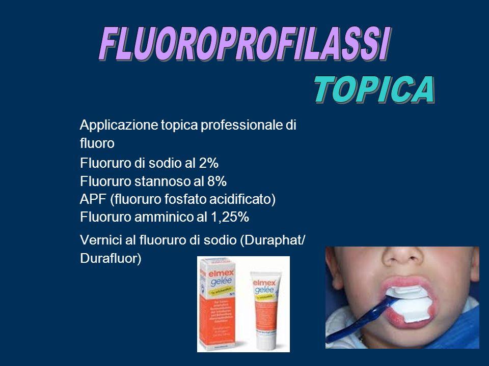 Applicazione topica professionale di fluoro Fluoruro di sodio al 2% Fluoruro stannoso al 8% APF (fluoruro fosfato acidificato) Fluoruro amminico al 1,