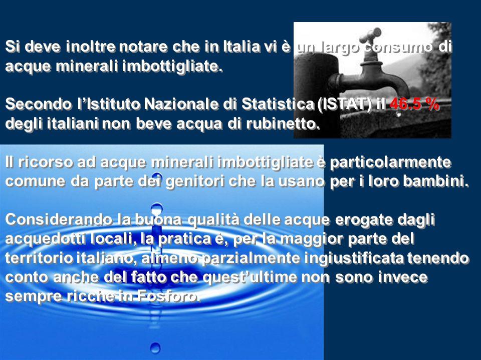 Si deve inoltre notare che in Italia vi è un largo consumo di acque minerali imbottigliate. Secondo lIstituto Nazionale di Statistica (ISTAT) il 46.5