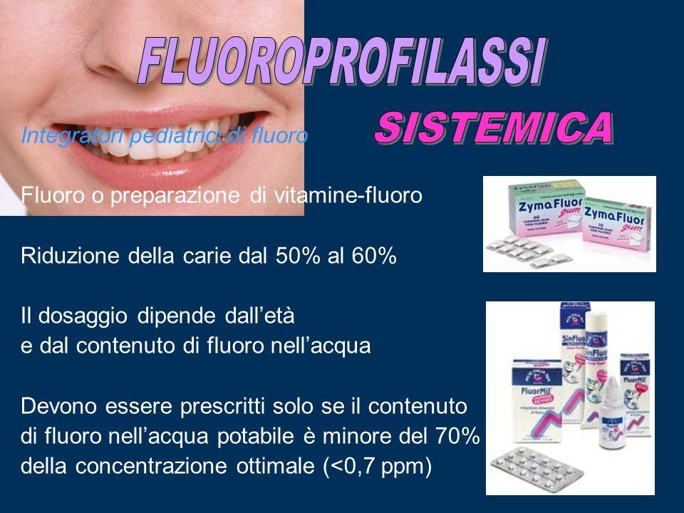 Integratori pediatrici di fluoro Fluoro o preparazione di vitamine-fluoro Riduzione della carie dal 50% al 60% Il dosaggio dipende dalletà e dal conte
