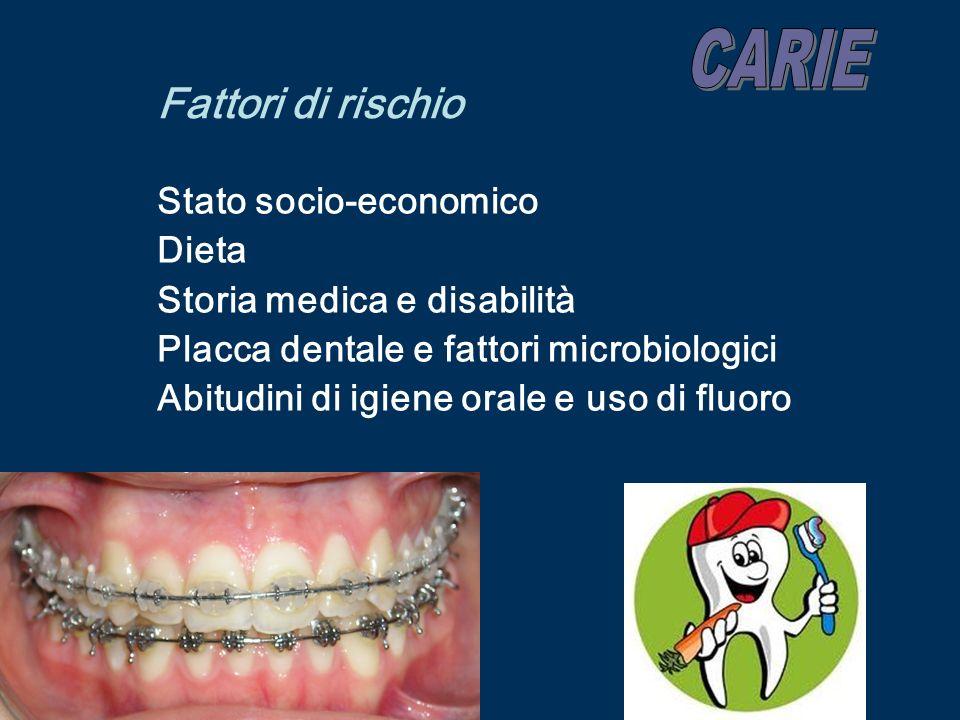 Fattori di rischio Stato socio-economico Dieta Storia medica e disabilità Placca dentale e fattori microbiologici Abitudini di igiene orale e uso di f