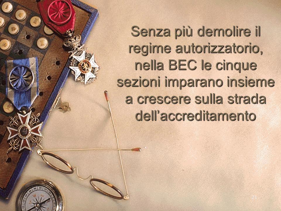 21 Senza più demolire il regime autorizzatorio, nella BEC le cinque sezioni imparano insieme a crescere sulla strada dellaccreditamento