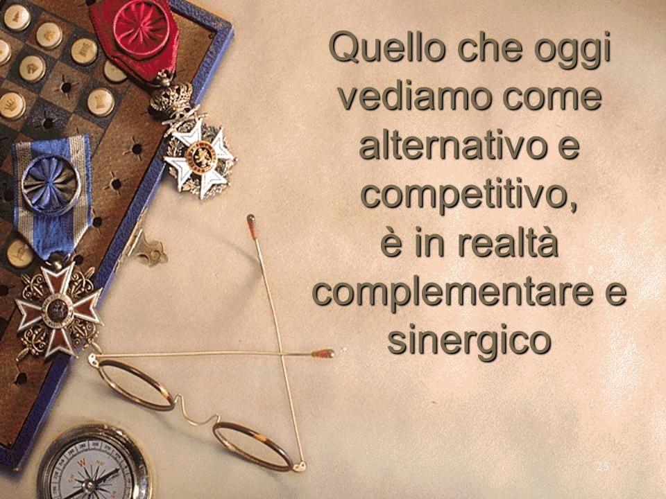 25 Quello che oggi vediamo come alternativo e competitivo, è in realtà complementare e sinergico